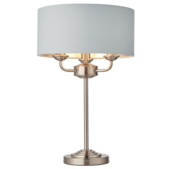 Townhouse - Chandelier Table Lamp - Duck Egg Linen & Brushed Chrome
