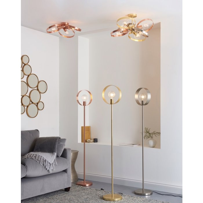 Hoop - Brushed Copper, Brass, Nickel Semi-Flush Feature Light