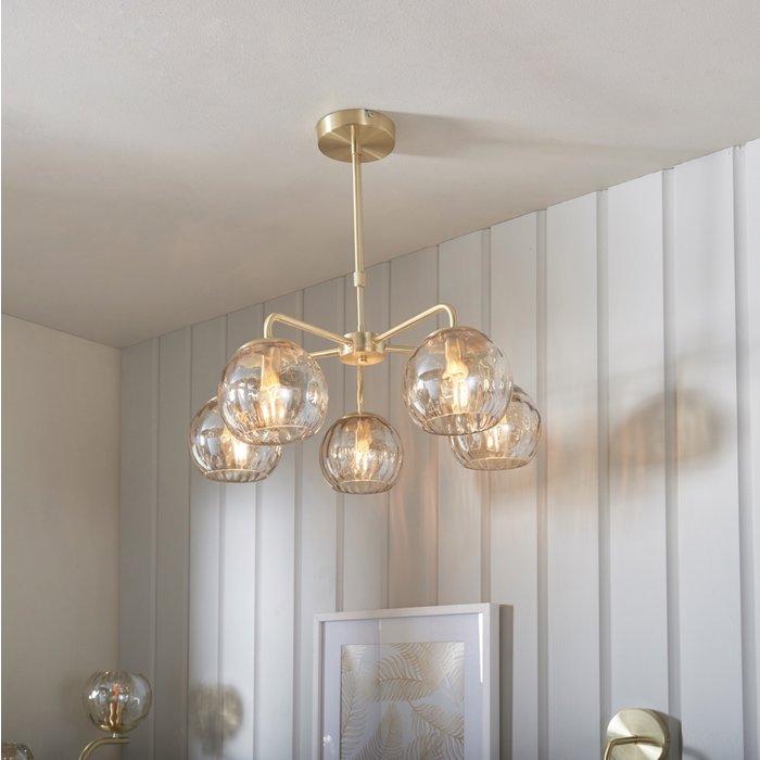 Ripple - Amber Glass Modern Classic 5 Light Ceiling Light