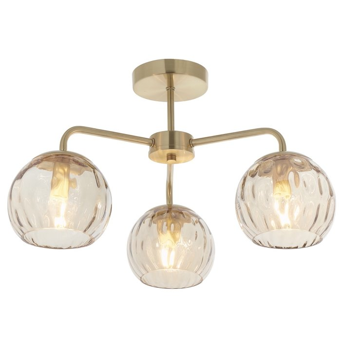 Ripple - Amber Glass Semi-Flush Ceiling Light