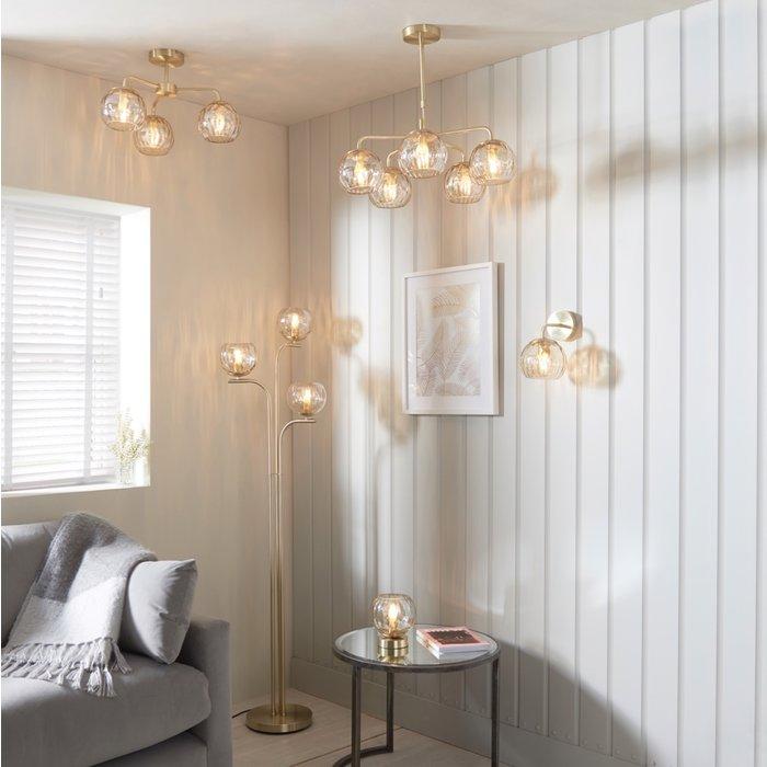 Ripple - Amber Glass Semi-Flush Ceiling Light