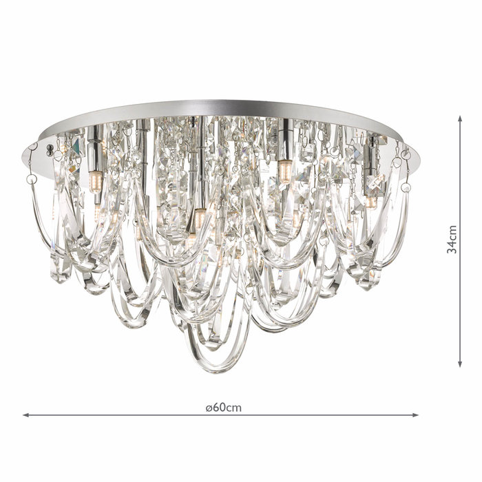 Rosanne - Crystal Curves Flush Ceiling Light - Large