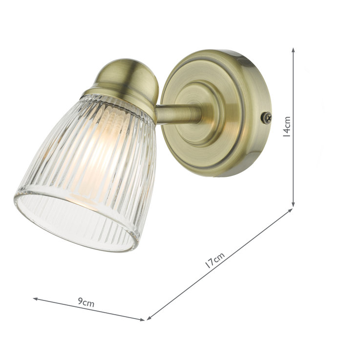 Ribbed Glass Wall Light - Antique Brass - IP44