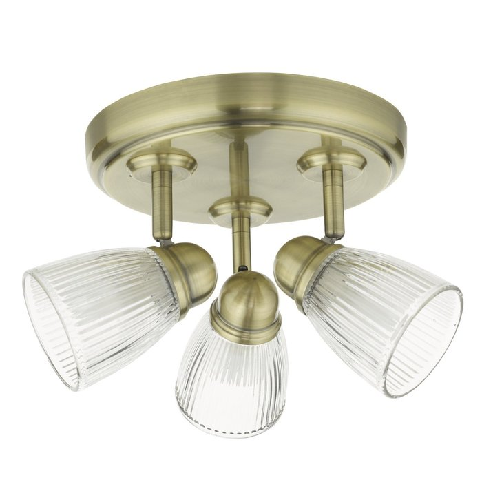 Ribbed Glass 3 Light Fitting - Antique Brass - IP44