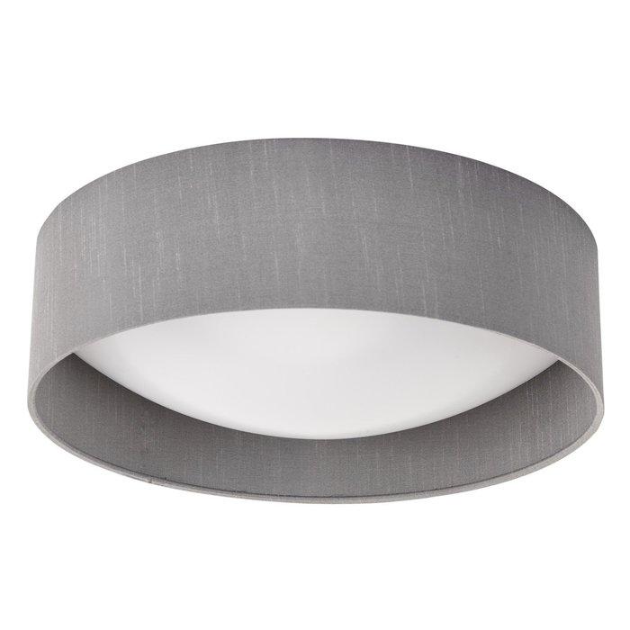 Nusa  - Flush Grey Faux Silk Drum Ceiling Light