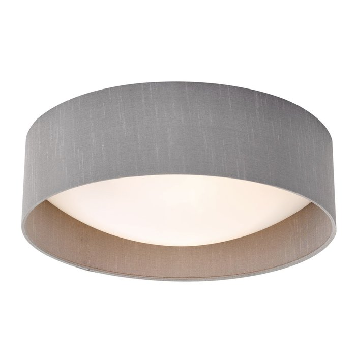 Nusa  - Flush Grey Faux Silk Drum Ceiling Light
