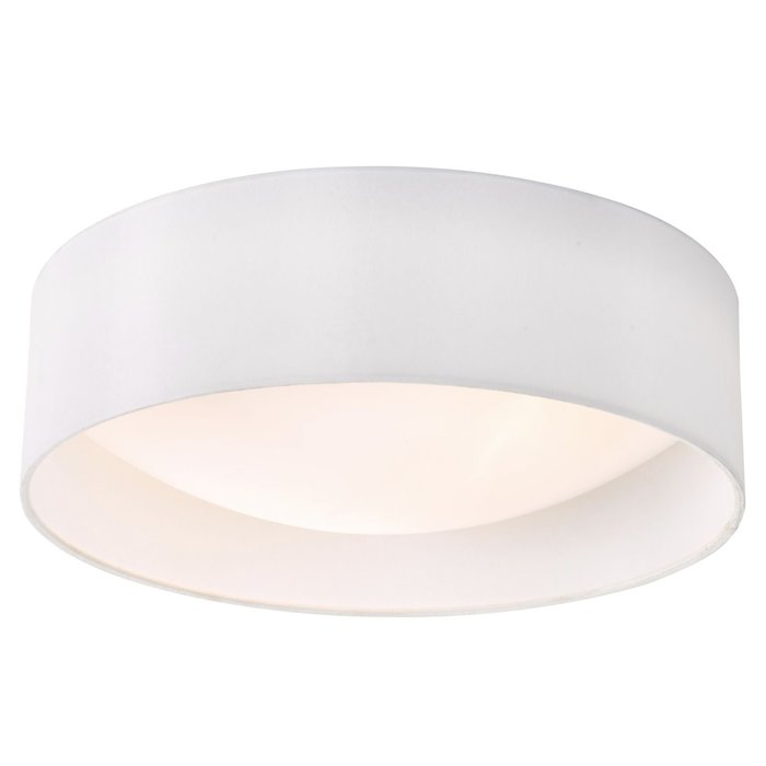 Nusa  - Flush Ivory Faux Silk Drum Ceiling Light