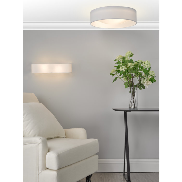 Nusa  - Flush Ivory Faux Silk Drum Ceiling Light
