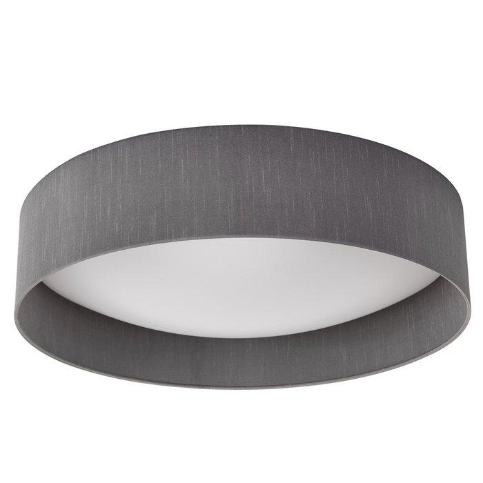 Nusa  - Flush Grey Faux Silk Drum Ceiling Light  - Large