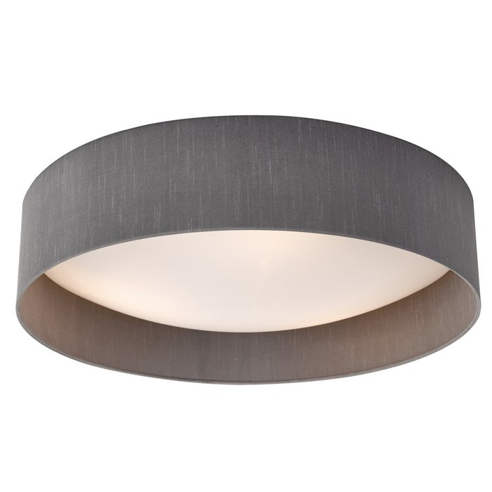 Nusa  - Flush Grey Faux Silk Drum Ceiling Light  - Large