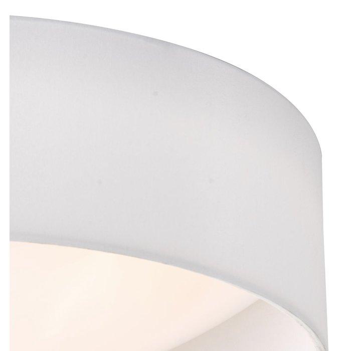 Nusa  - Flush Ivory Faux Silk Drum Ceiling Light  - Large
