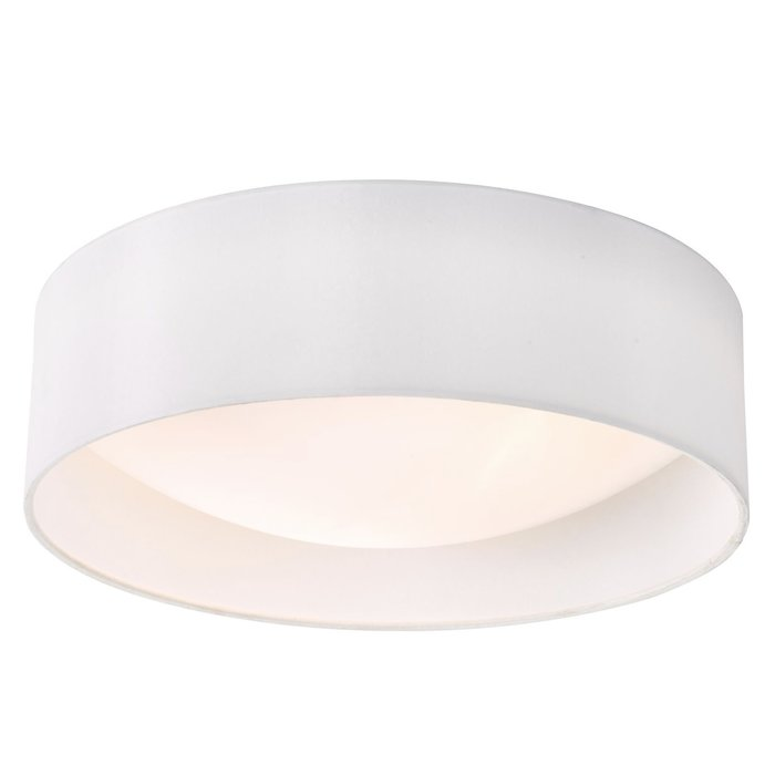 Nusa  - Flush Ivory Faux Silk Drum Ceiling Light  - Large
