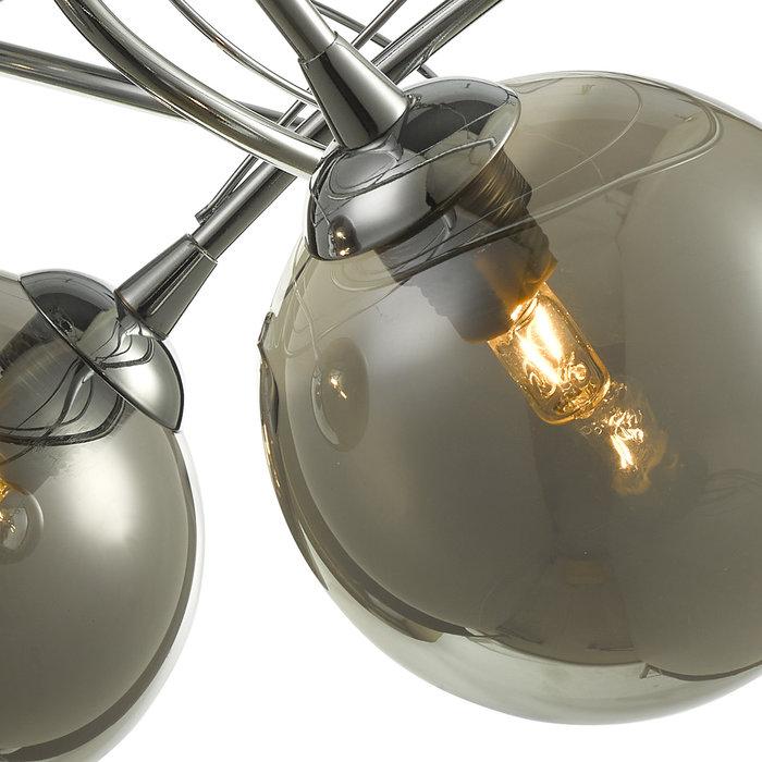 Ottawa -  3 Light Semi Flush Smoked Glass Fitting - Polished Chrome