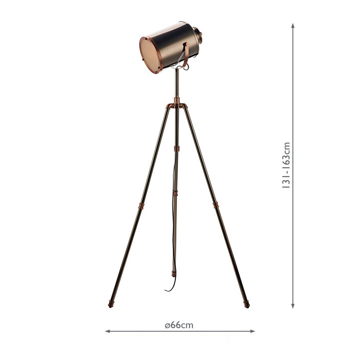 Atelier - Mid Century Studio Tripod Floor Lamp - Antique Silver & Copper
