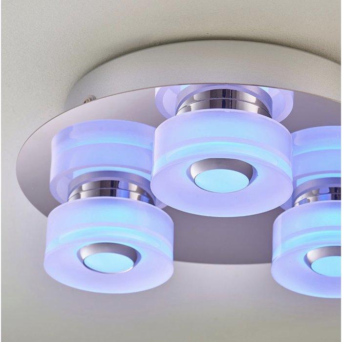 Olympia - 3 Light Modern Colour Changing  LED Bathroom Flush Ceiling Light