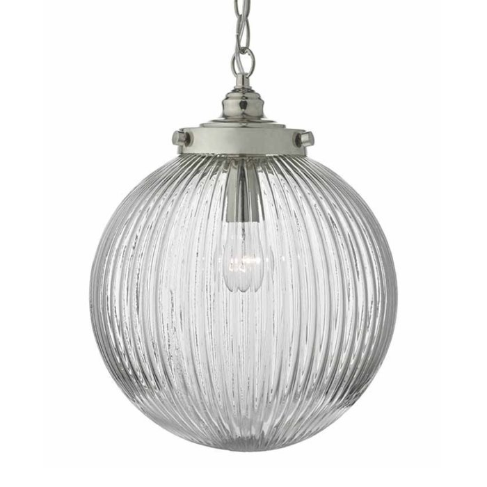 Zudo - Ribbed Glass Globe Ceiling Pendant - Satin Nickel