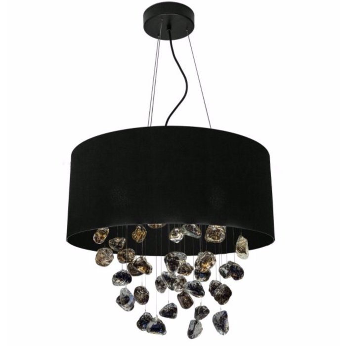 Meteorite  - Black Drum & Organic Glass Feature Ceiling Light