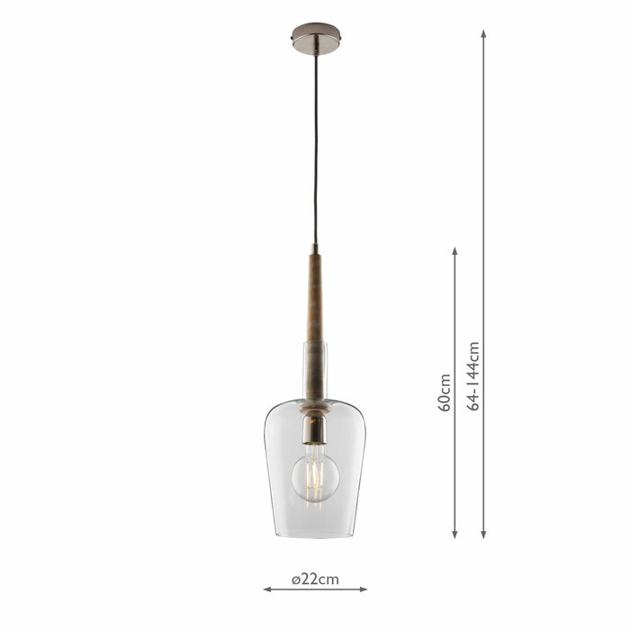 Bell - Glass Pendant Light with Whitewash Wood