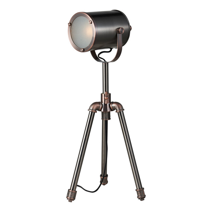 Jacob - Mid Century Studio Pipe Tripod Table Lamp - Antique Silver & Copper
