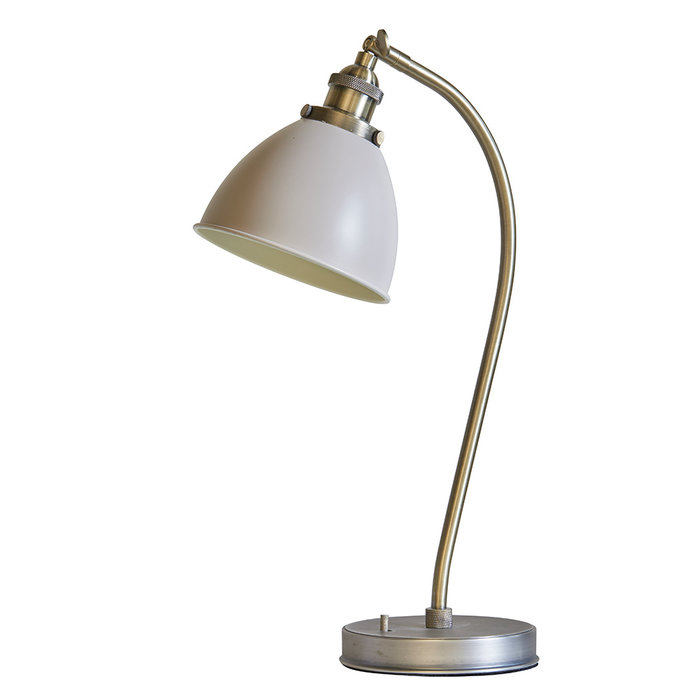 George - Industrial Glass Table/Desk Lamp - Antique Brass  & Stone Finish