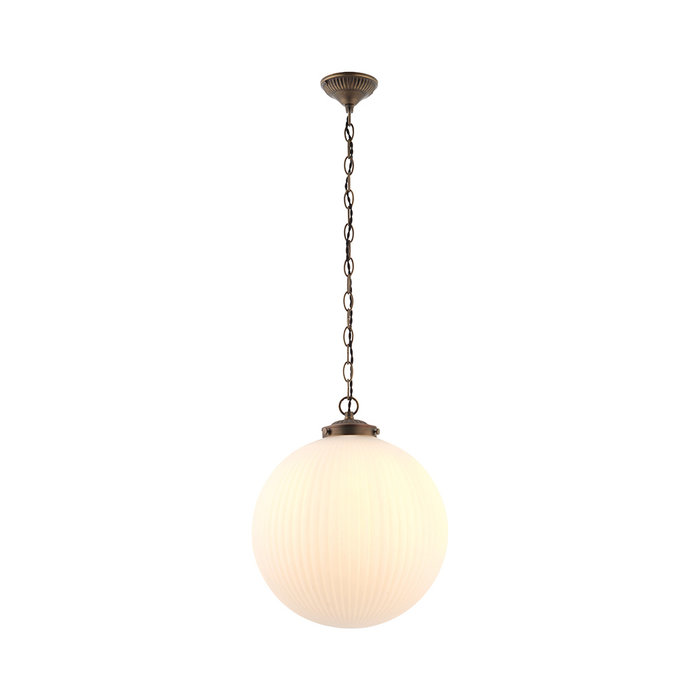 Kay - Frosted Ribbed Glass Globe Pendant - Large