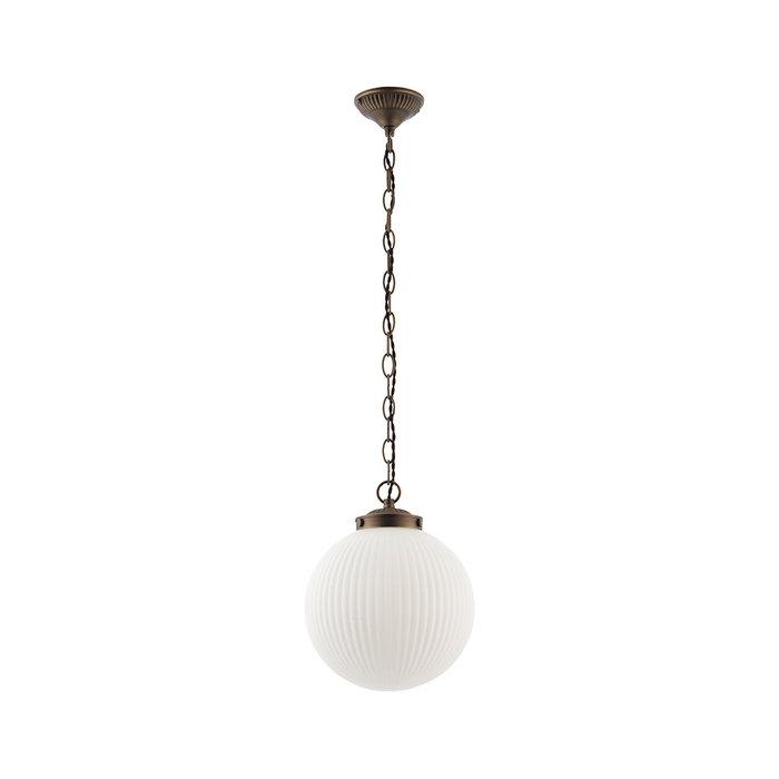 Kay - Opal Ribbed Glass Globe Pendant - Small