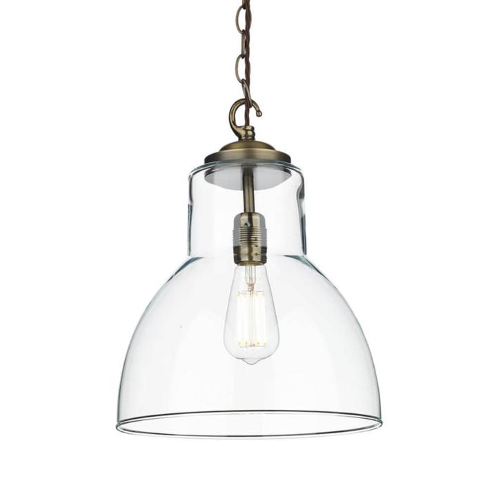 Upton - Solid Brass & Glass Industrial Pendant Light - David Hunt