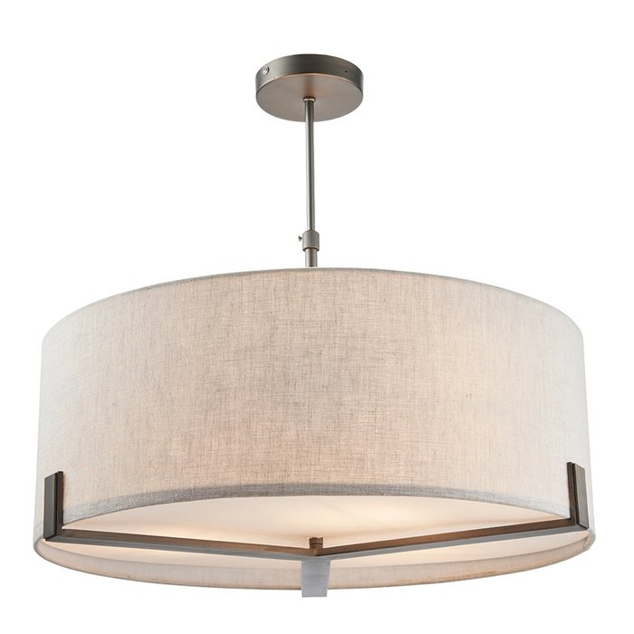 Mayfair - 3 Light Drum Hotel Style Feature Light - Bronze & Natural Linen