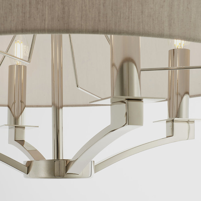 Salzburg  - 4 Light Classic Hotel Style Feature Light - Biege & Polished Nickel