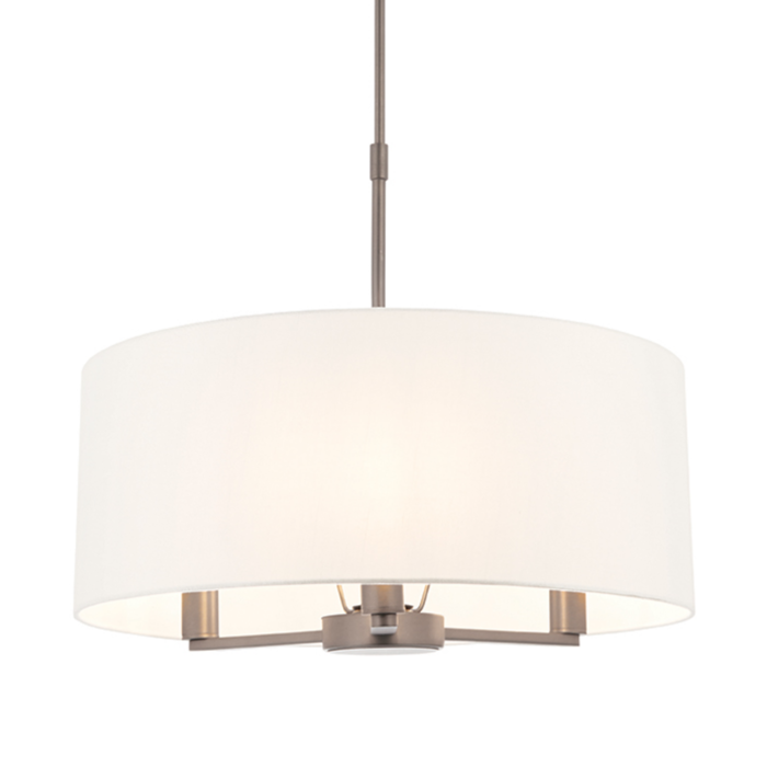 Thomas  - 3 Light Modern Hotel Style Drum Light - White Faux Silk & Matt Nickel