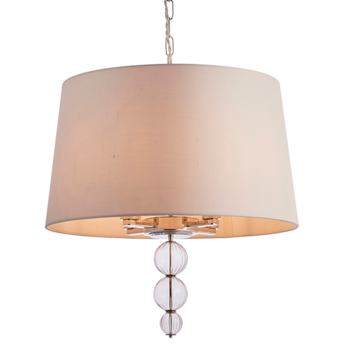 Daphne  - Boutique Hotel Style Drum Ceiling Light - Biege & Polished Nickel