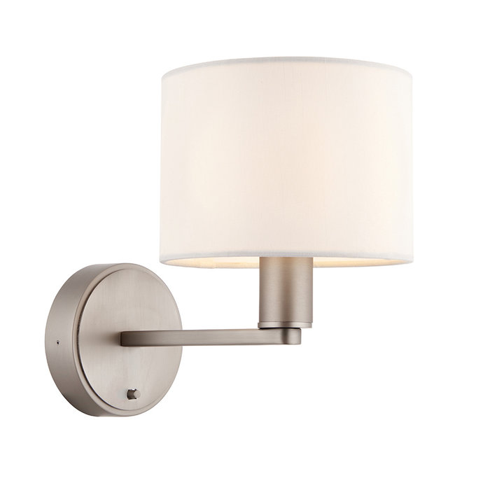 Thomas - Modern Hotel Style Wall Light - Matt Nickel & Faux White Silk