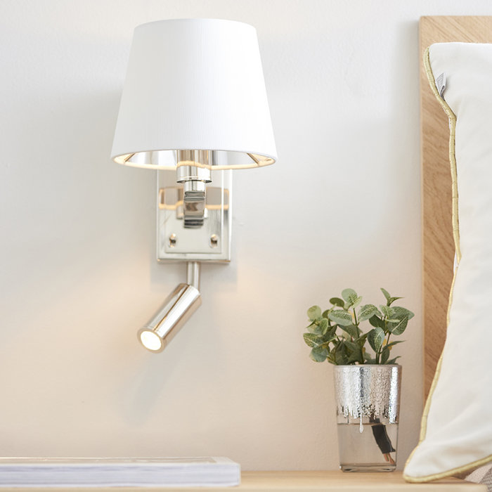 Pen - Hotel Wall Light with LED Reading Light - Bright Nickel & Faux White Silk