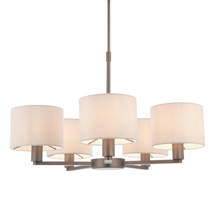 Thomas  - 5 Light Modern Hotel Style Chandelier - Marble Faux Silk & Bronze