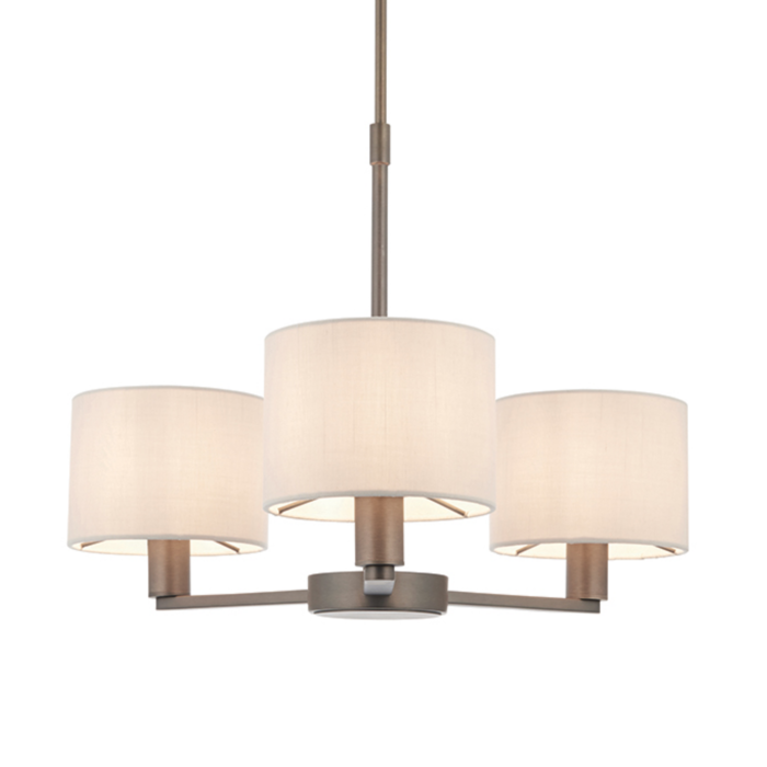 Thomas  - 3 Light Modern Hotel Style Chandelier - Marble Faux Silk & Bronze