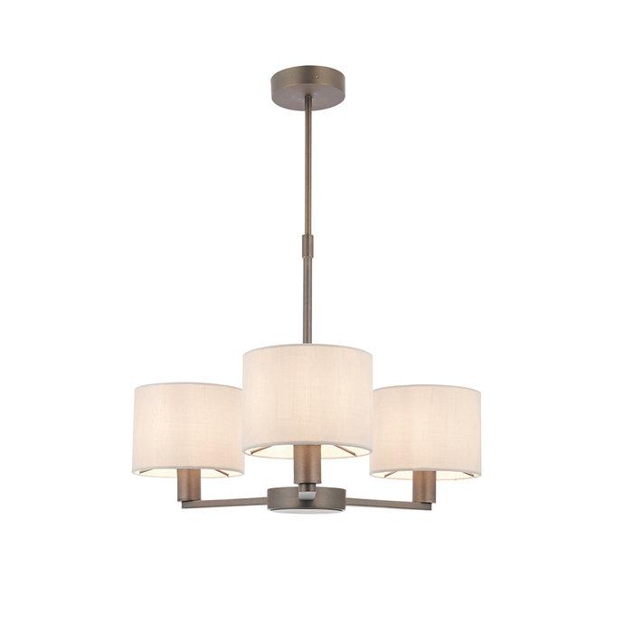 Thomas  - 3 Light Modern Hotel Style Chandelier - Marble Faux Silk & Bronze