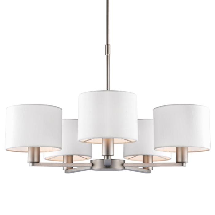Thomas  - 5 Light Modern Hotel Chandelier - White Faux Silk & Matt Nickel
