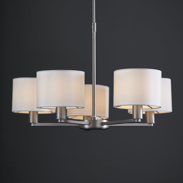 Thomas  - 5 Light Modern Hotel Chandelier - White Faux Silk & Matt Nickel