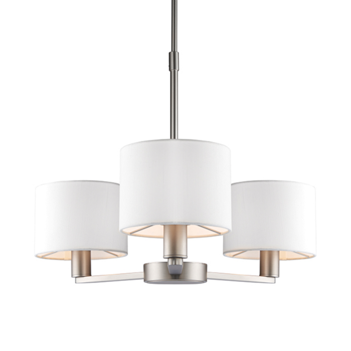 Thomas  - 3 Light Modern Hotel Style Chandelier - White Faux Silk & Matt Nickel