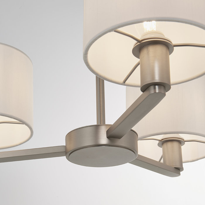 Thomas  - 3 Light Modern Hotel Style Chandelier - White Faux Silk & Matt Nickel