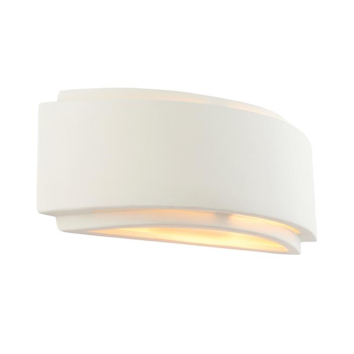 Vanna - Modern Art Deco White Plaster Up & Down Wall Light