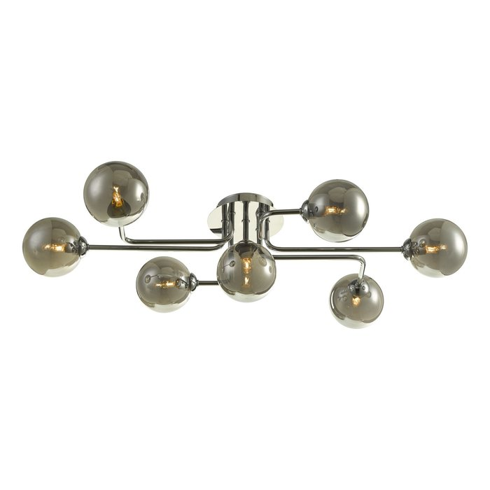 Raymond - Smoked Glass Modern Pipe Flush Ceiling Light