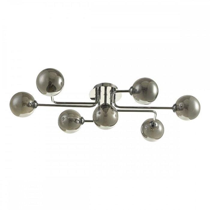 Raymond - Smoked Glass Modern Pipe Flush Ceiling Light