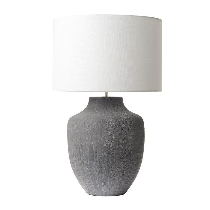Ido - Two Tone Rustic Grey Ceramic Vase Table Lamp