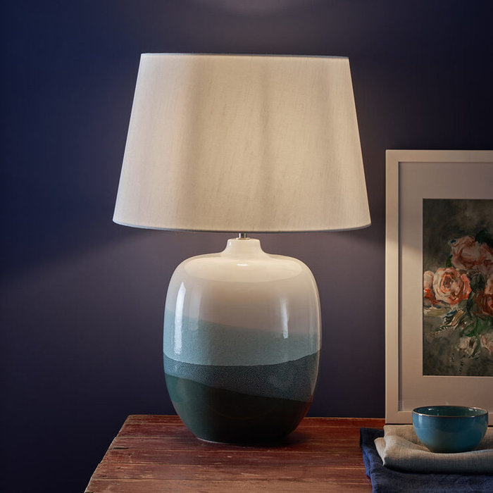 Laurita - Modern White & Green Ceramic Table Lamp