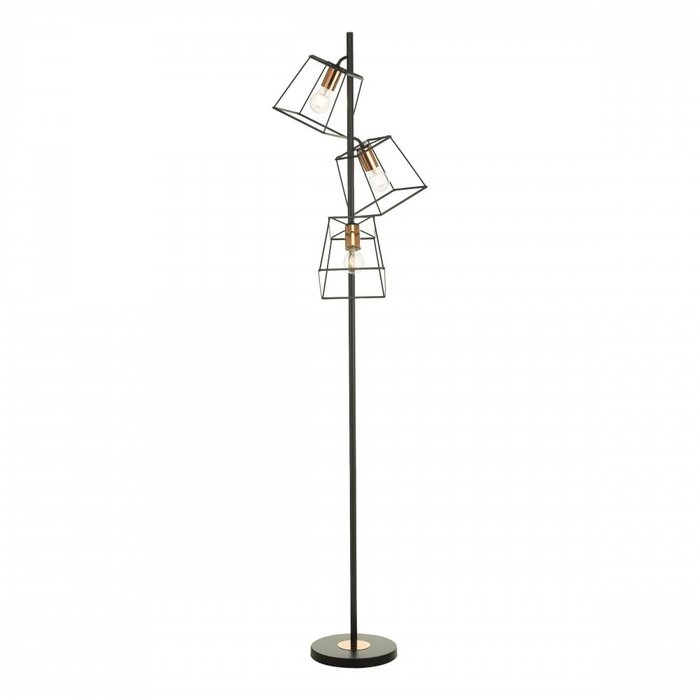 Cara - Black Cage & Copper Industrial Floor Lamp