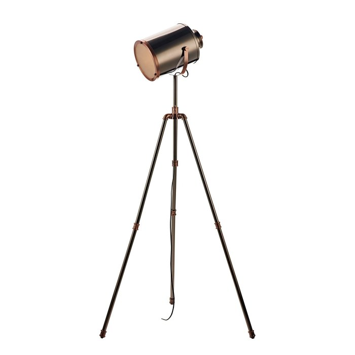 Jacob - Modern Pipe Tripod Floor Lamp - Antique Silver & Copper