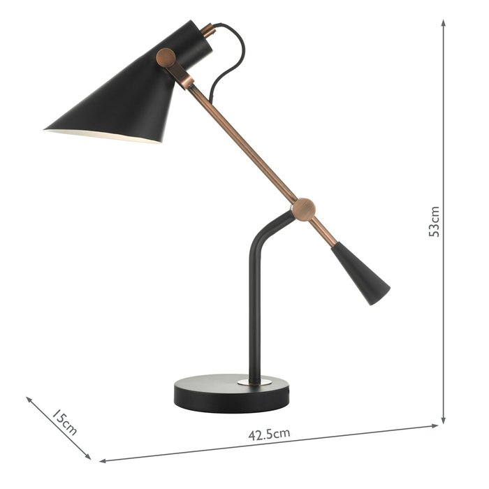 Jorge - Home Office Studio Reading Lamp - Black & Antique Copper
