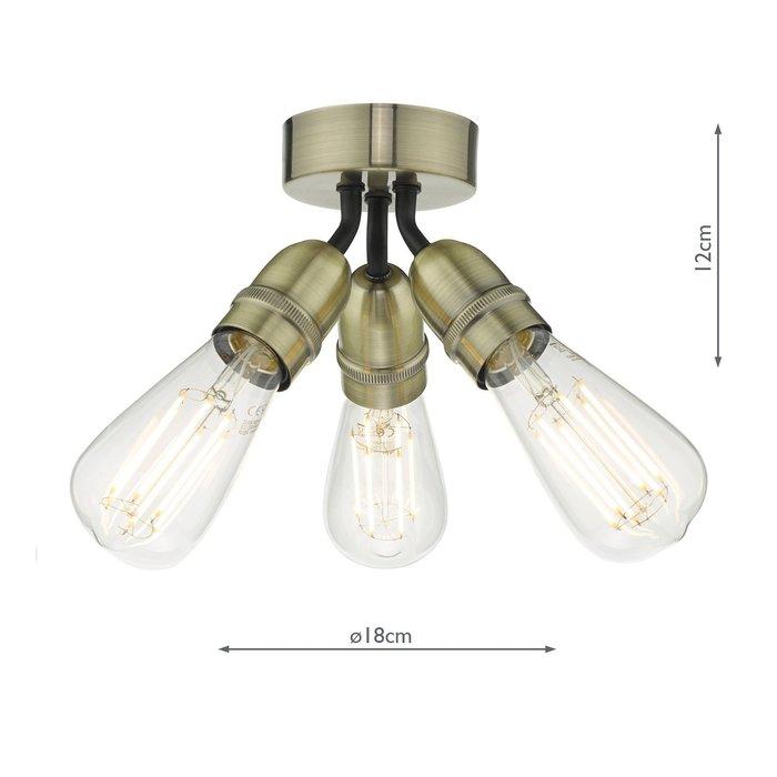 Mini - Small 3 Light Industrial Ceiling Light - Black & Brass