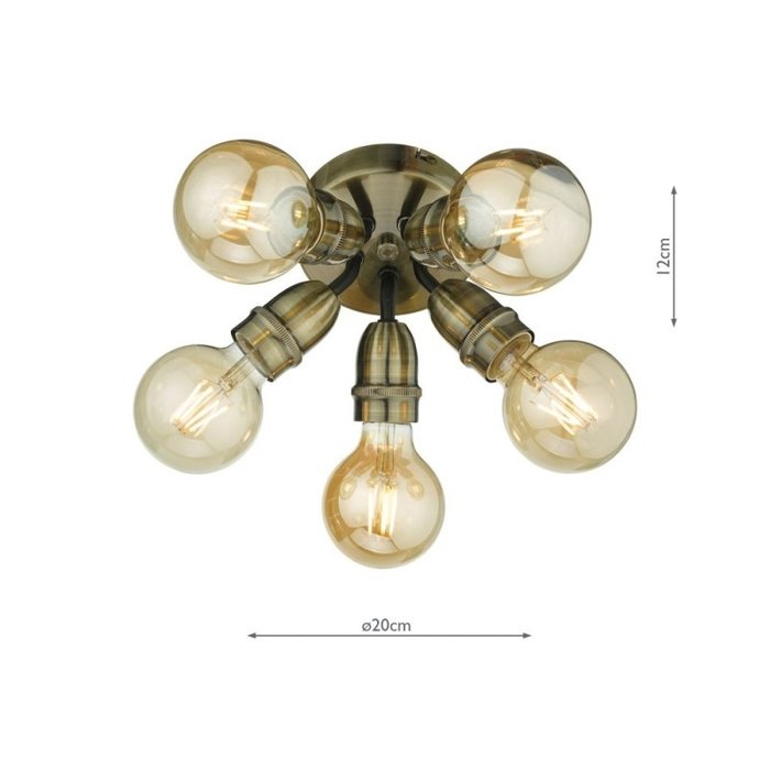 Mini - Small 5 Light Industrial Ceiling Light - Black & Brass